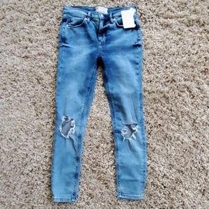 Free People Destructed Knee Skinny Crop Jeans